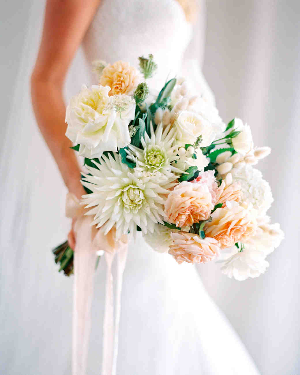 Peach, Yellow, and Green Bridal Bouquet