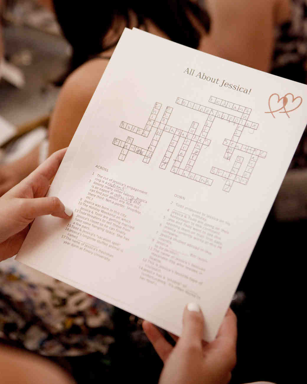 bridal shower crossword