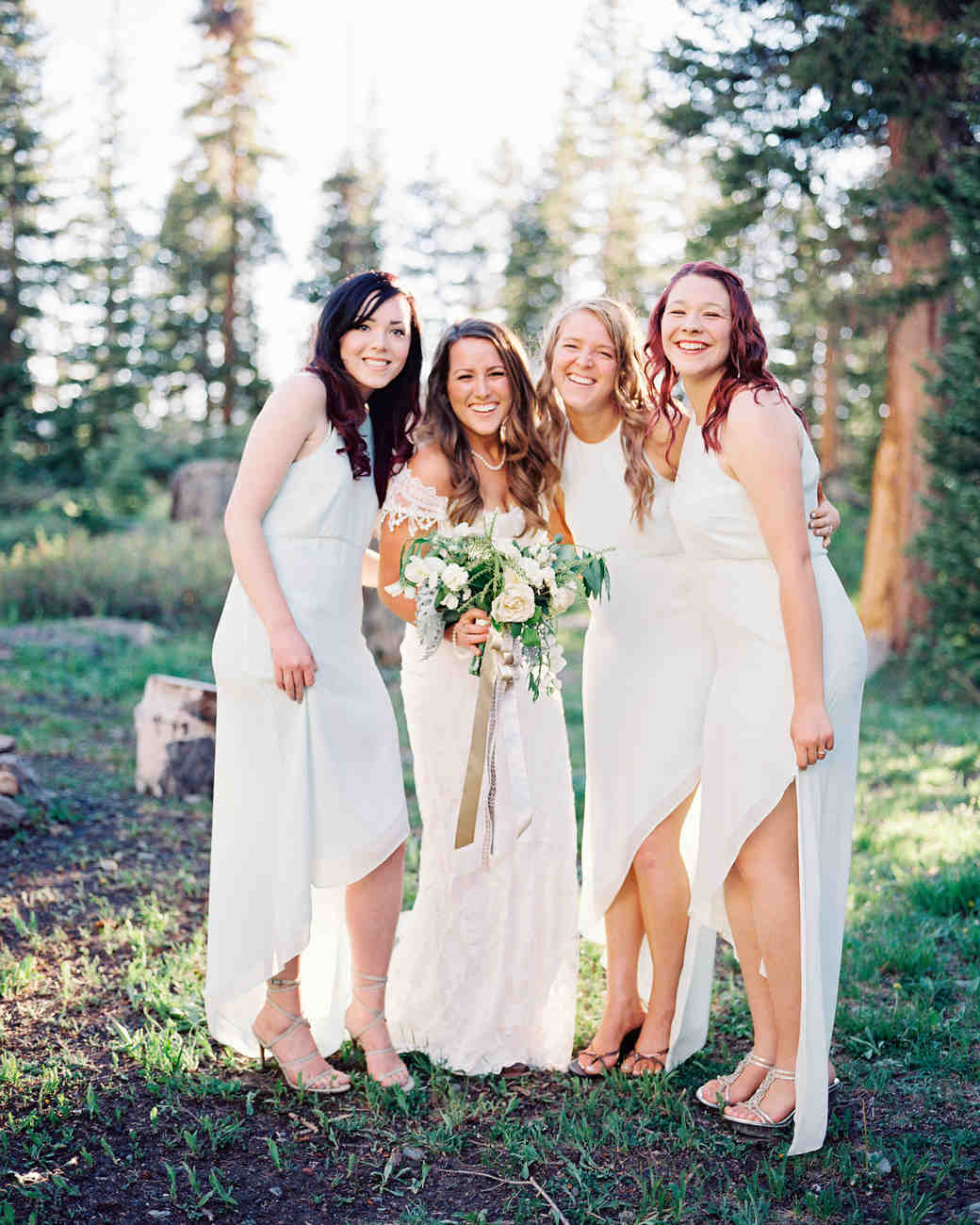 Bridesmaids Wearing White Dresses