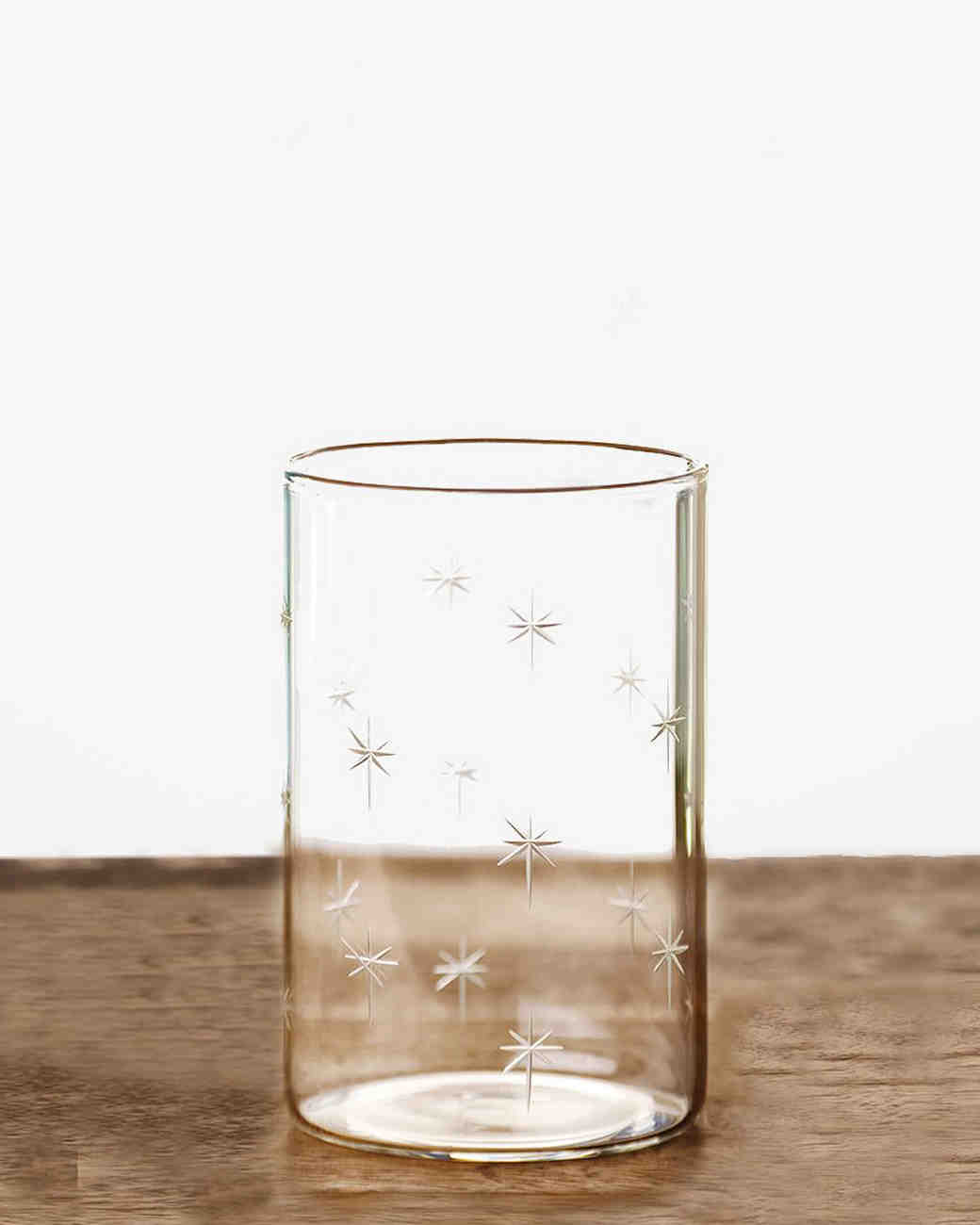 glass with gold stars