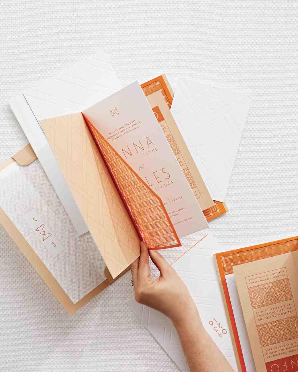 Orange and White Letterpressed Booklet Invitation