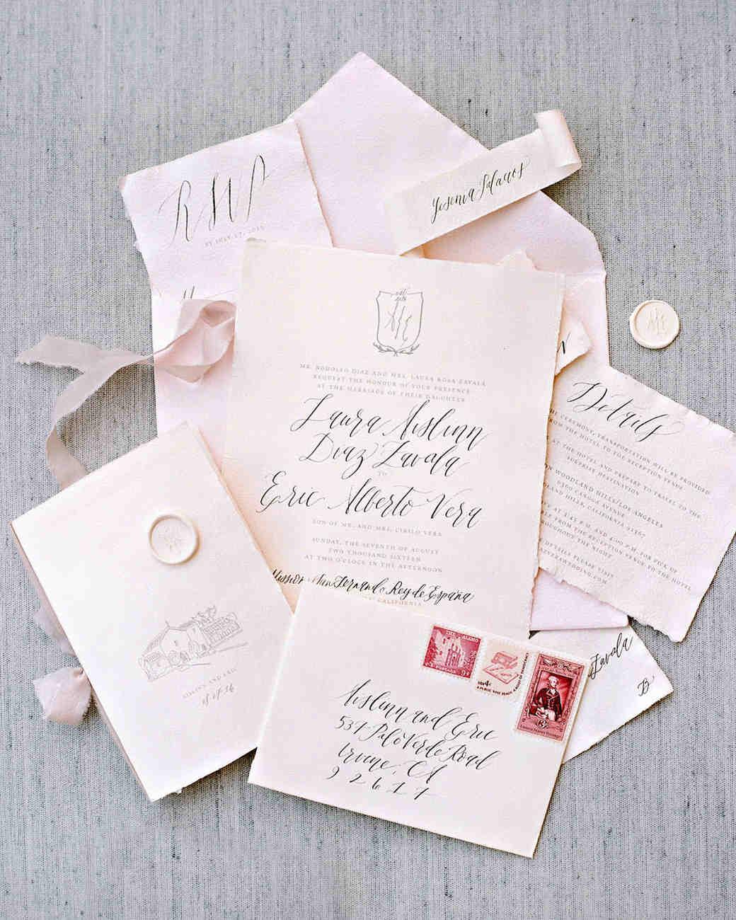 aislinn eric wedding malibu pink stationery