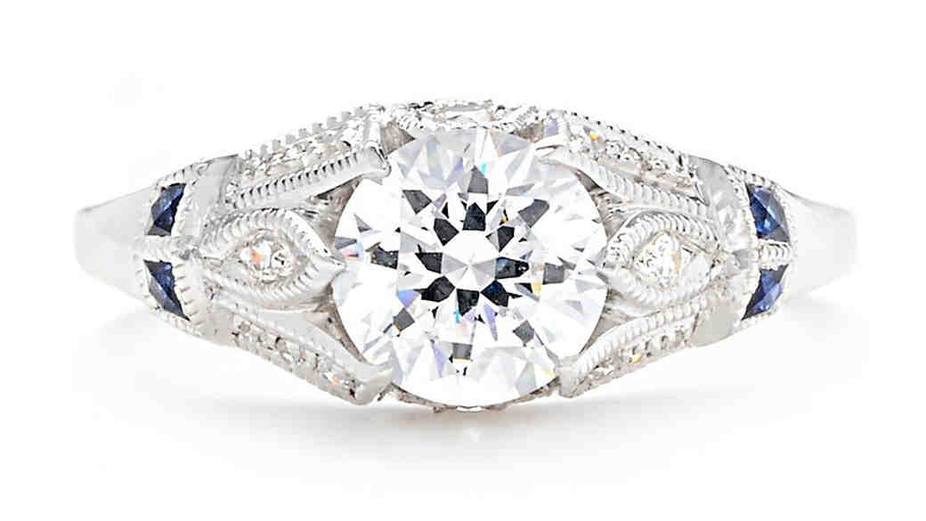 Beverly K vintage engagement ring with sapphires