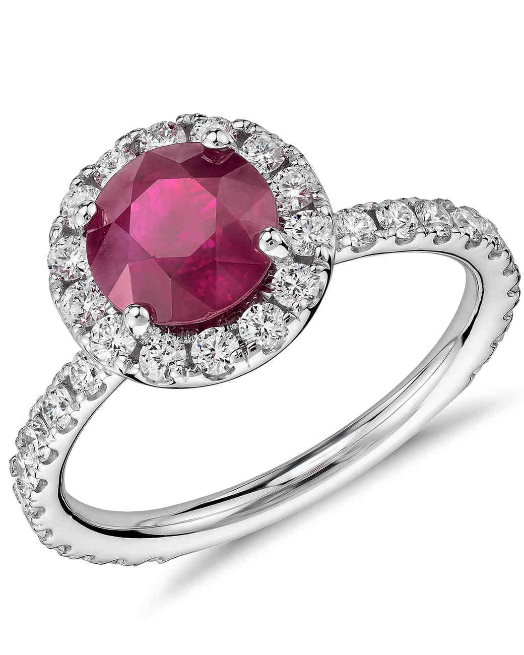 Blue Nile Ruby Engagement Ring with Diamond Pavé Halo