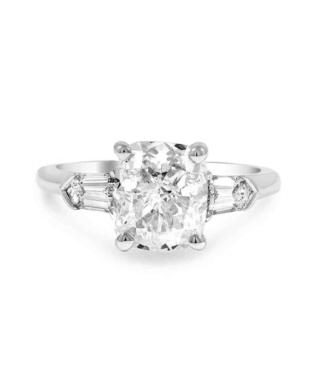 Brilliant Earth The Beloved Ring Cushion-Cut Diamond with Baguette Diamonds on side