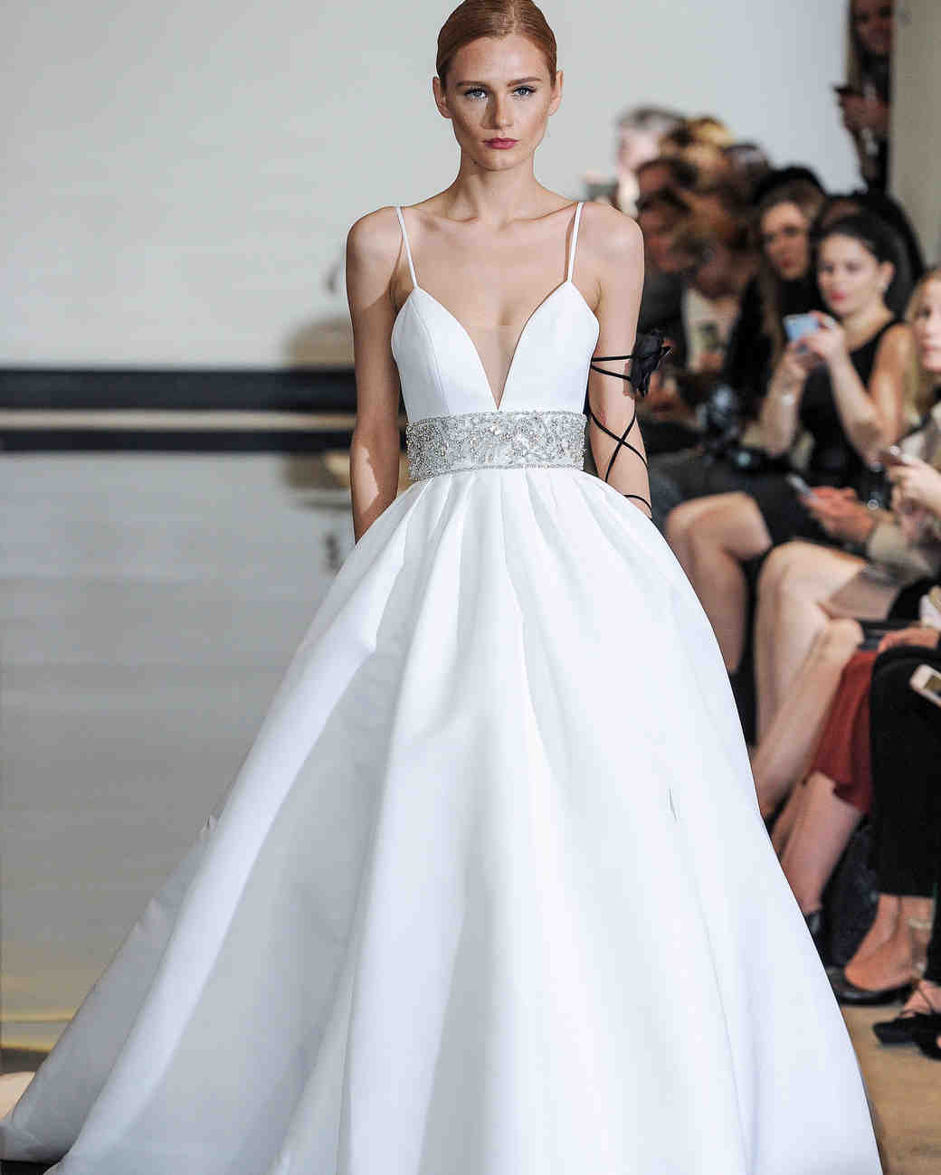 Justin Alexander Ball Gown Wedding Dress with Spaghetti Straps Spring 2018