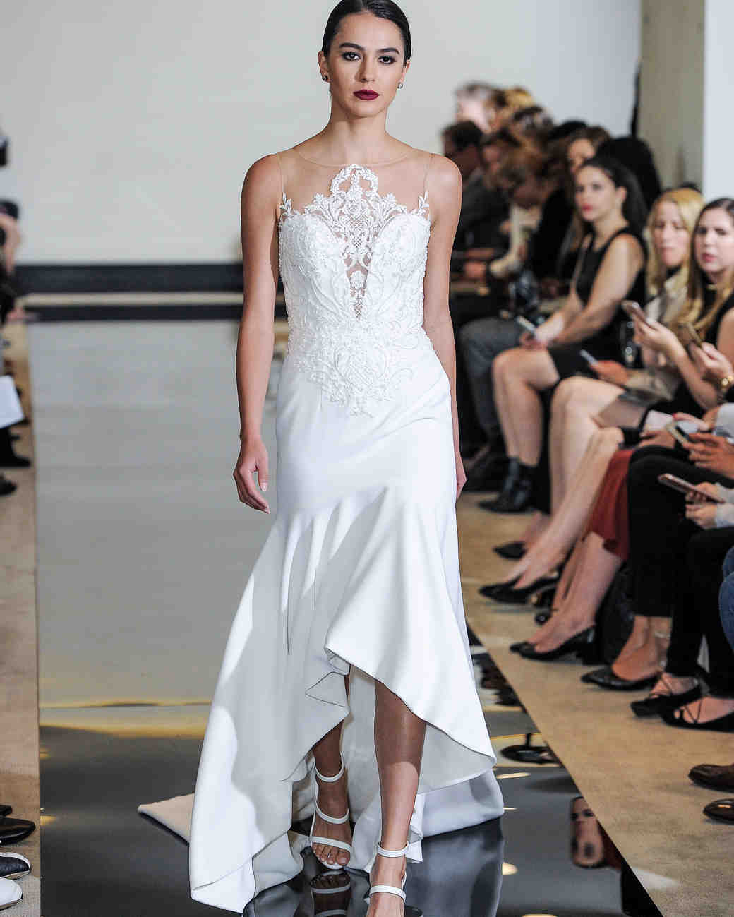 Justin Alexander Trumpet Wedding Dress with Illusion Neckline Spring 2018