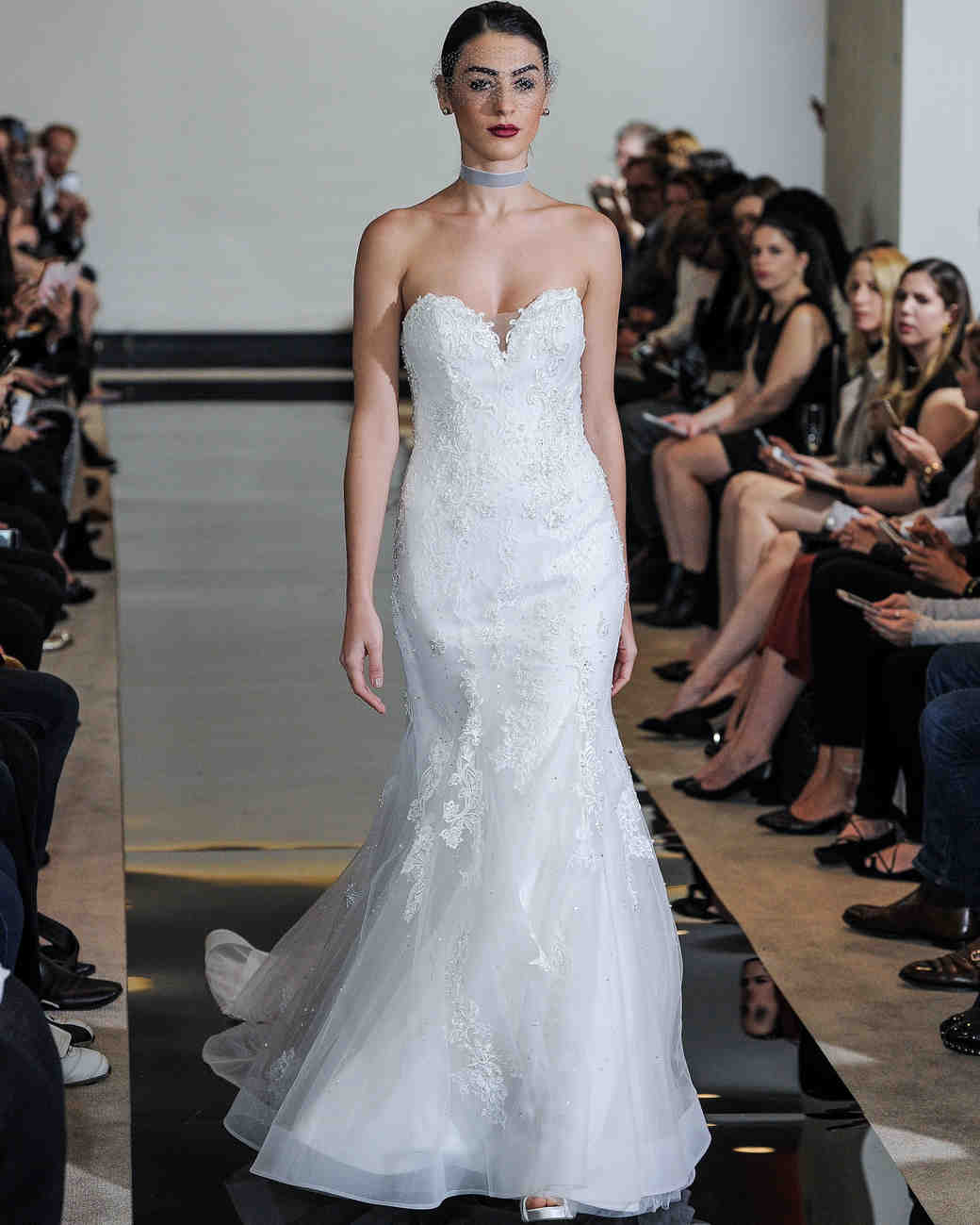 Justin Alexander Strapless Wedding Dress with Lace Spring 2018