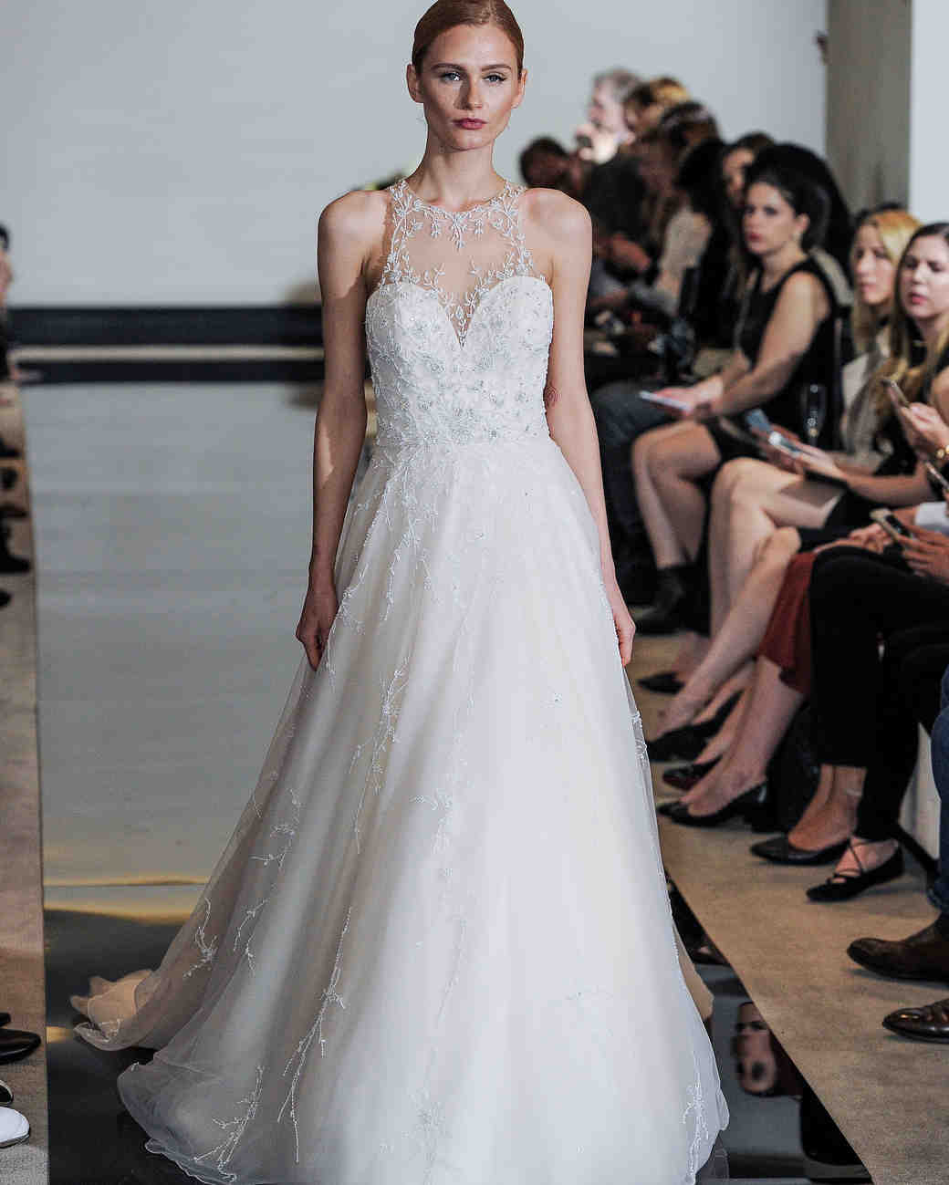 Justin Alexander A-Line Wedding Dress with Illusion Neckline Spring 2018