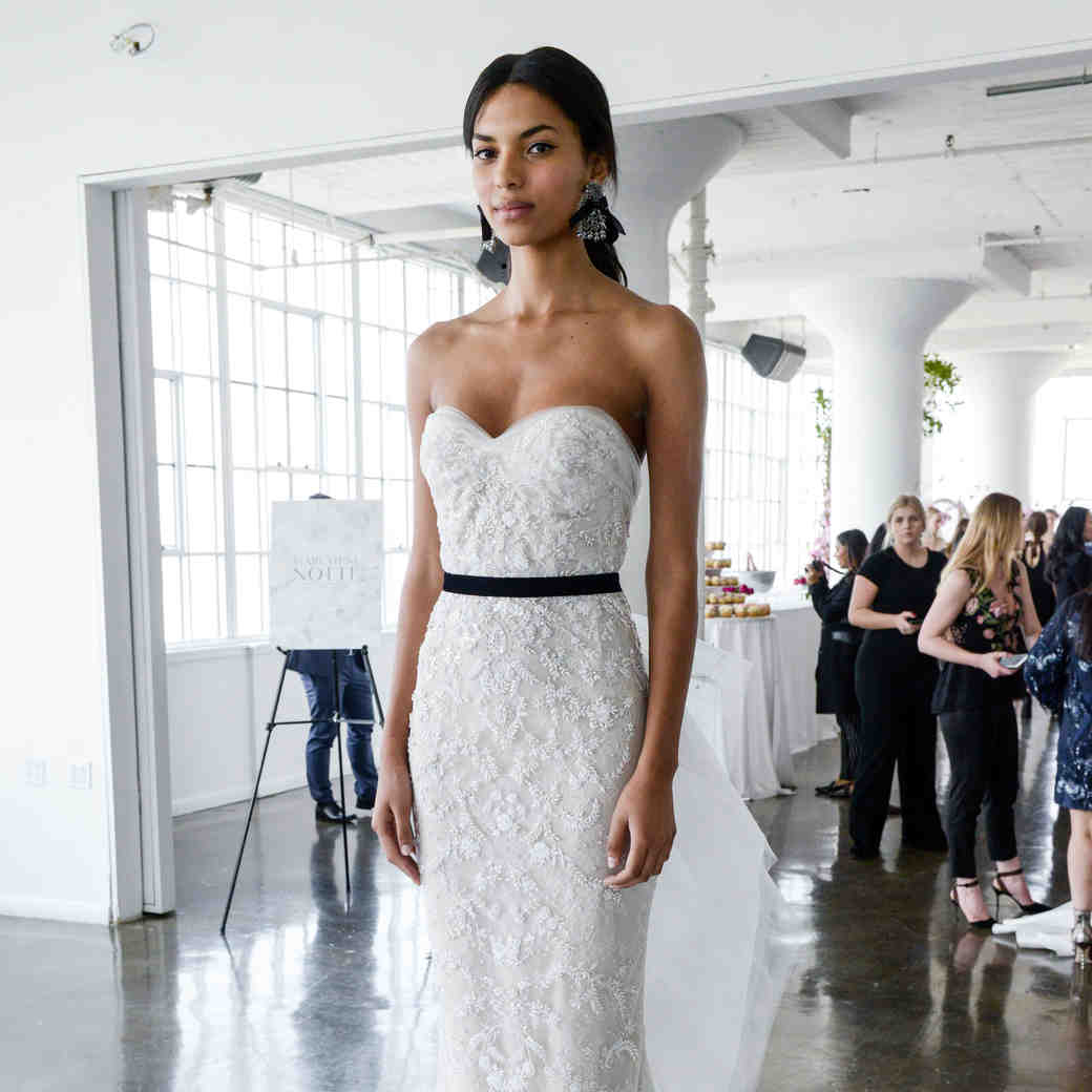 marchesa spring 2018 strapless wedding dress with beaded details