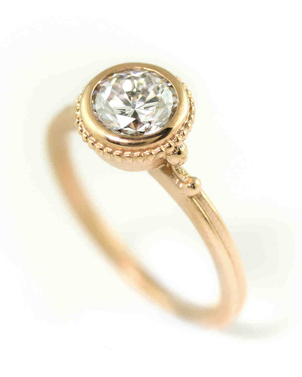 "Megan Thorne ""Ione"" Thin Ring in rose gold with diamond"