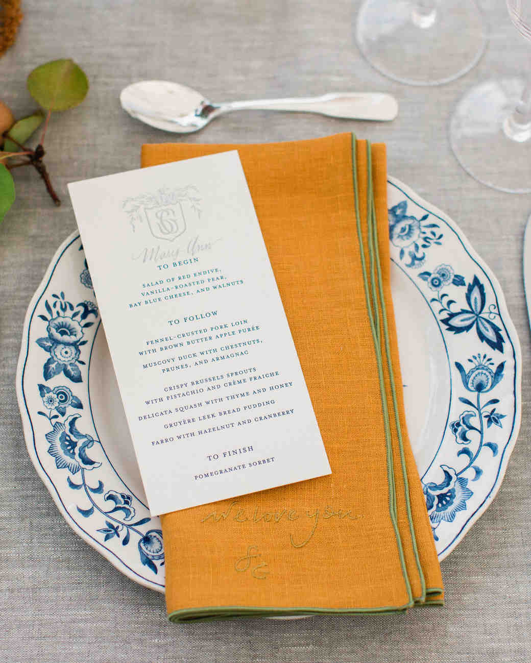 sarah greg new jersey wedding place setting