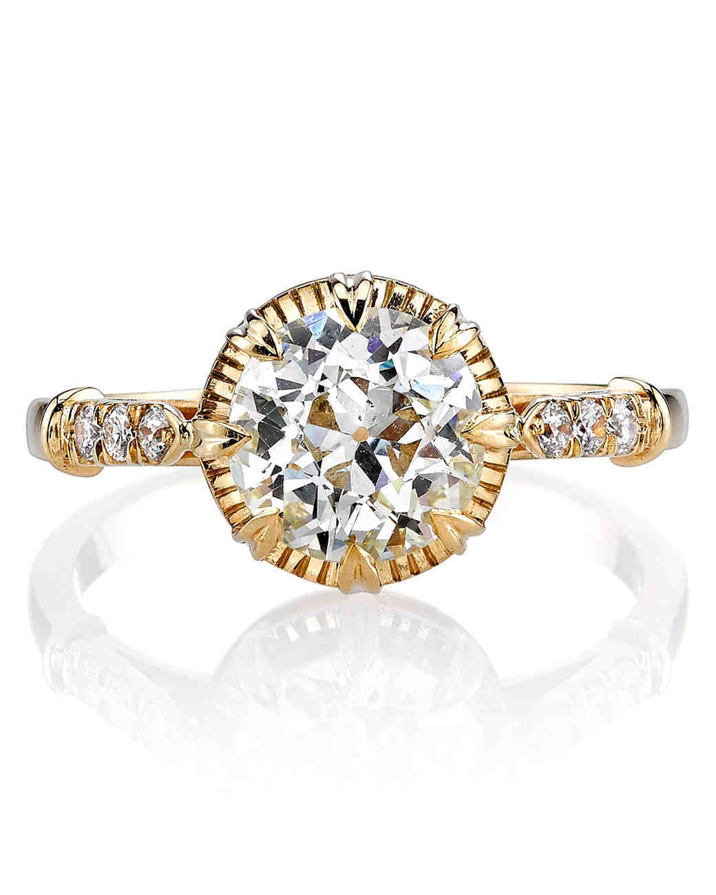 Single Stone Arielle Euro-cut yellow gold engagement ring