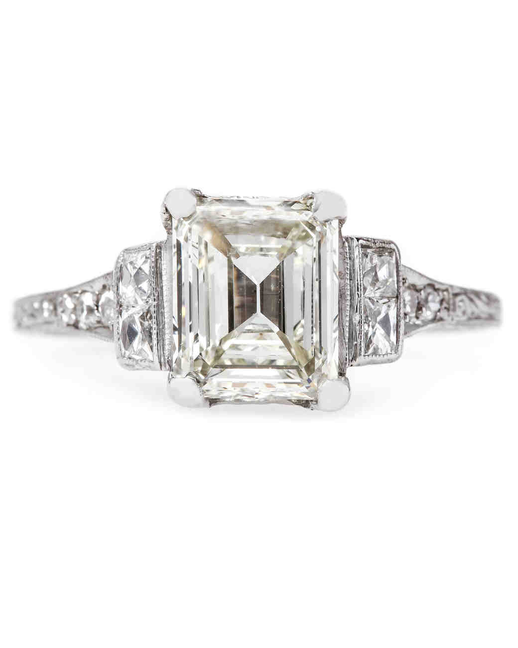 Trumpet & Horn Emerald-Cut Engagement Ring