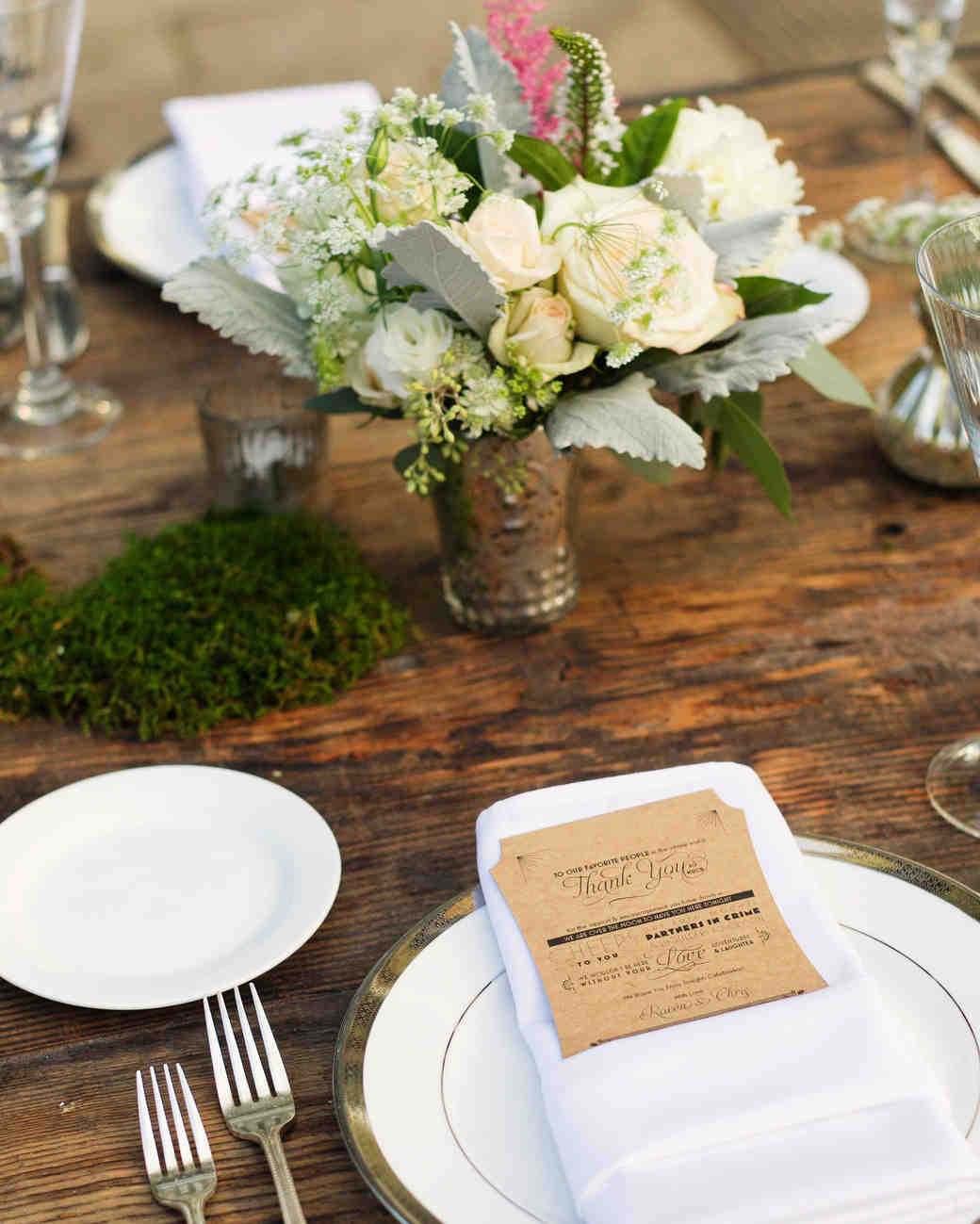 Table Setting on Wooden Table with Kraft Paper Menu