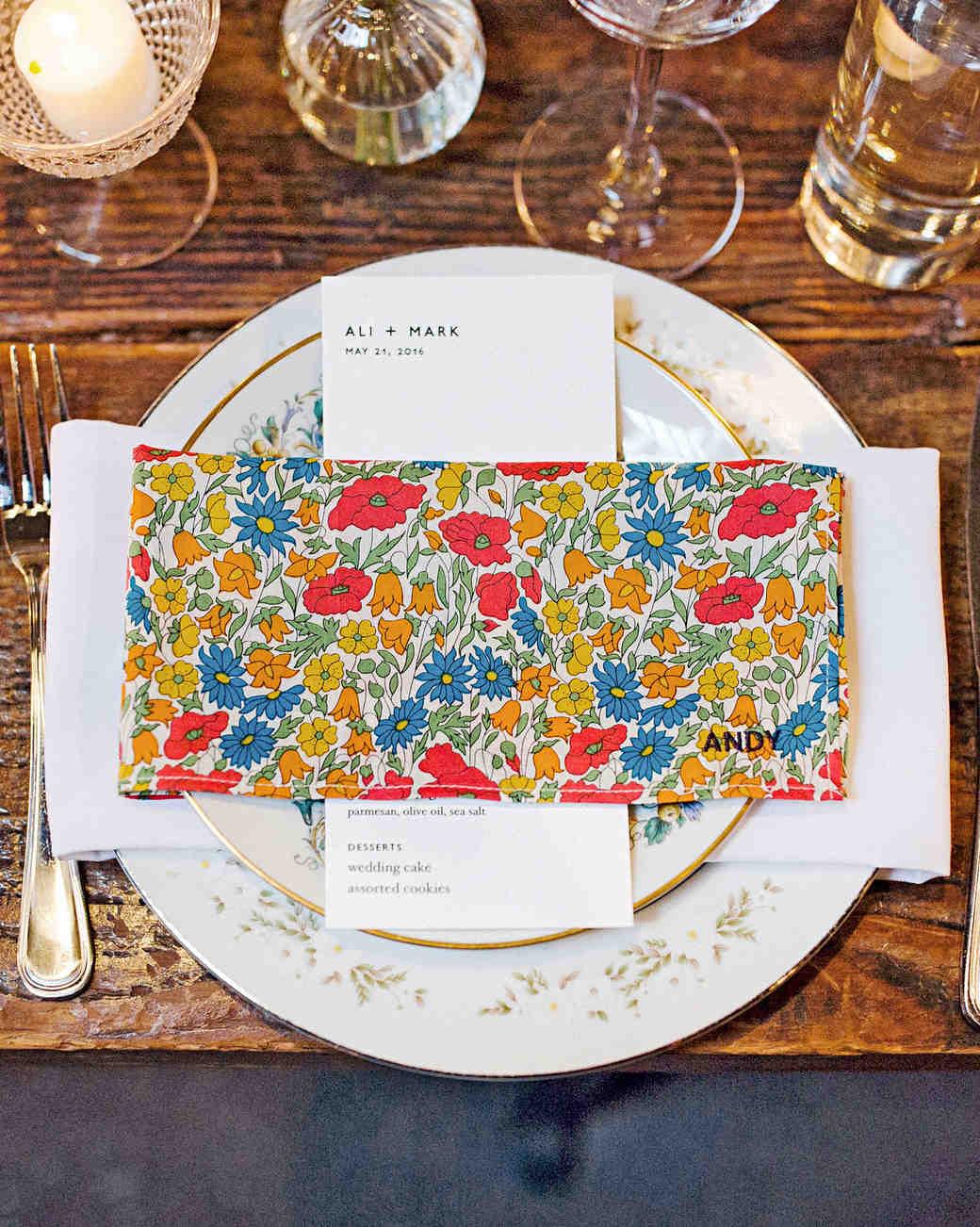 ali mark wedding new york napkins placecards