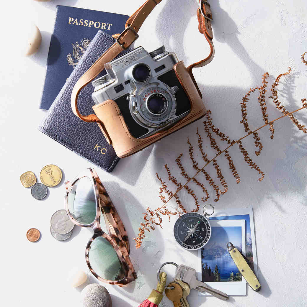 honeymoon planner camera and passport