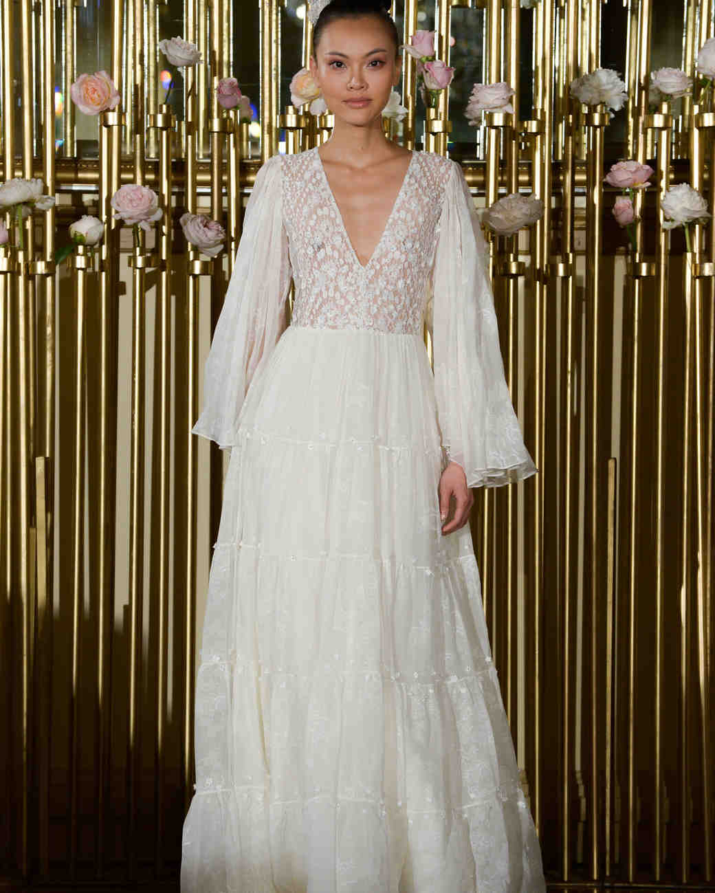 Francesca Miranda Long Sleeve Wedding Dress with V-Neck Spring 2018