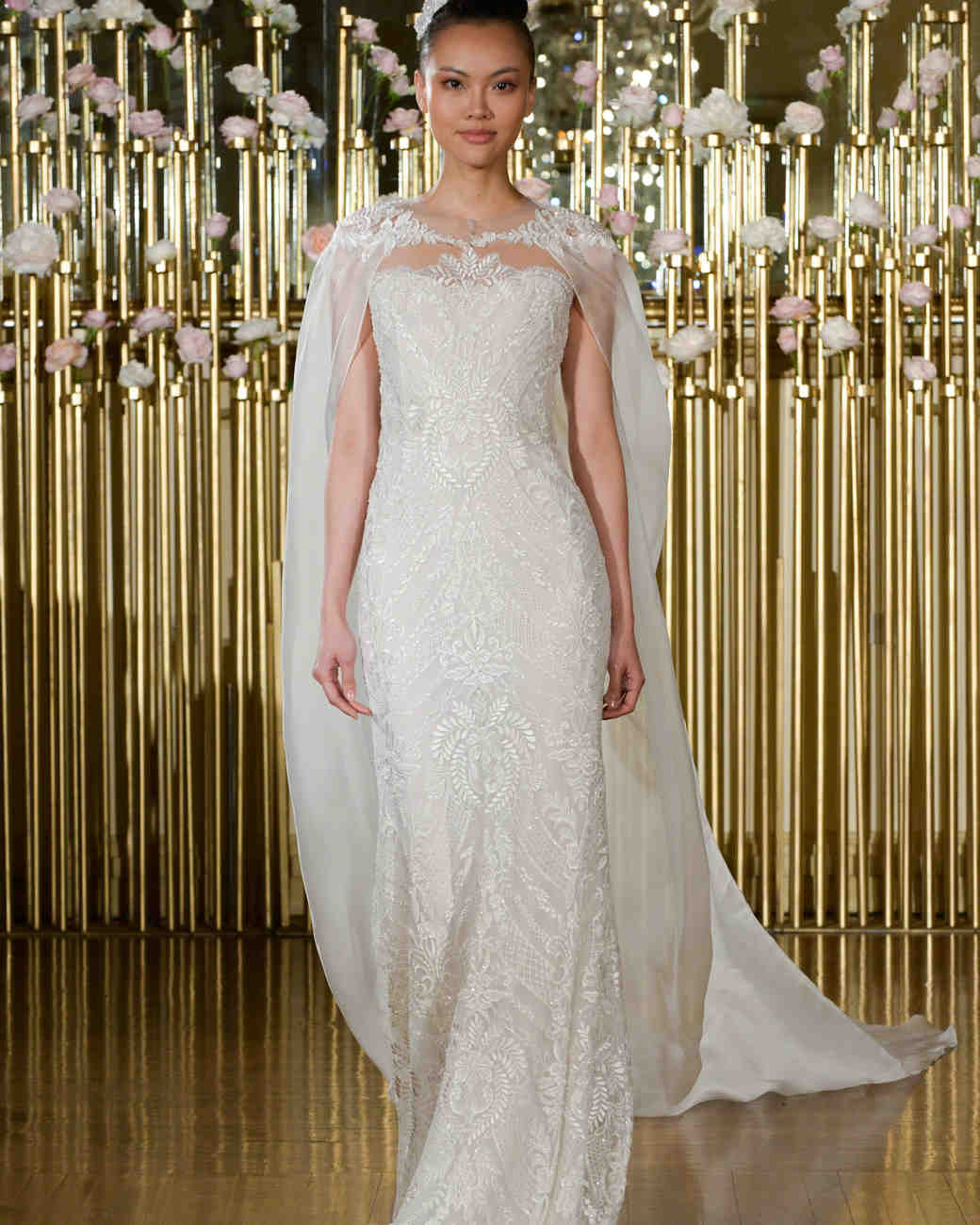 Francesca Miranda Sheath Wedding Dress with Cape Spring 2018