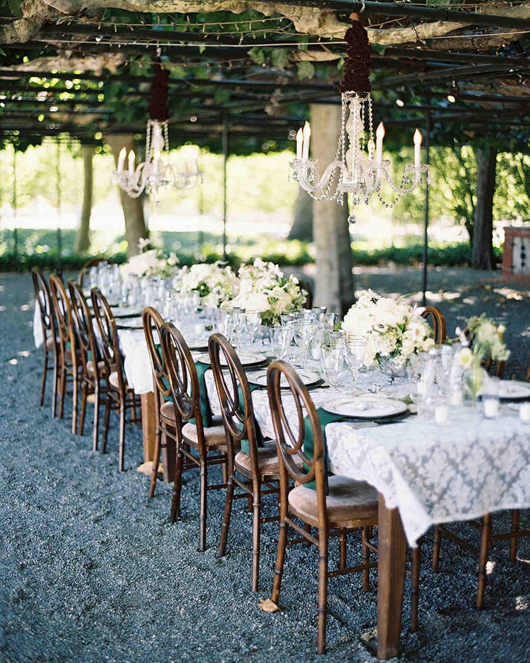 A Table Setup for a Backyard Wedding