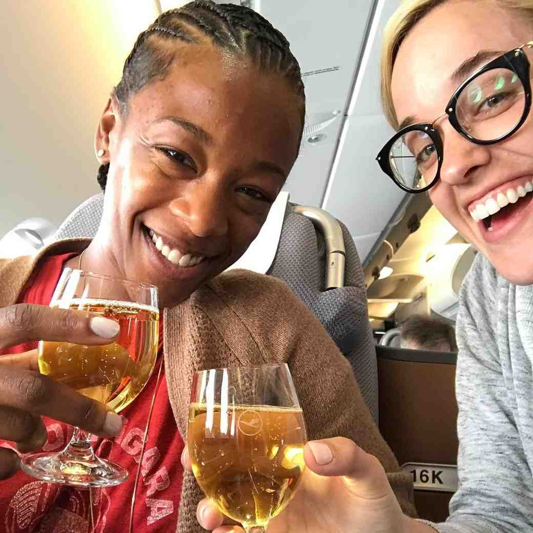 Lauren Morelli and Samira Wiley on a Plane