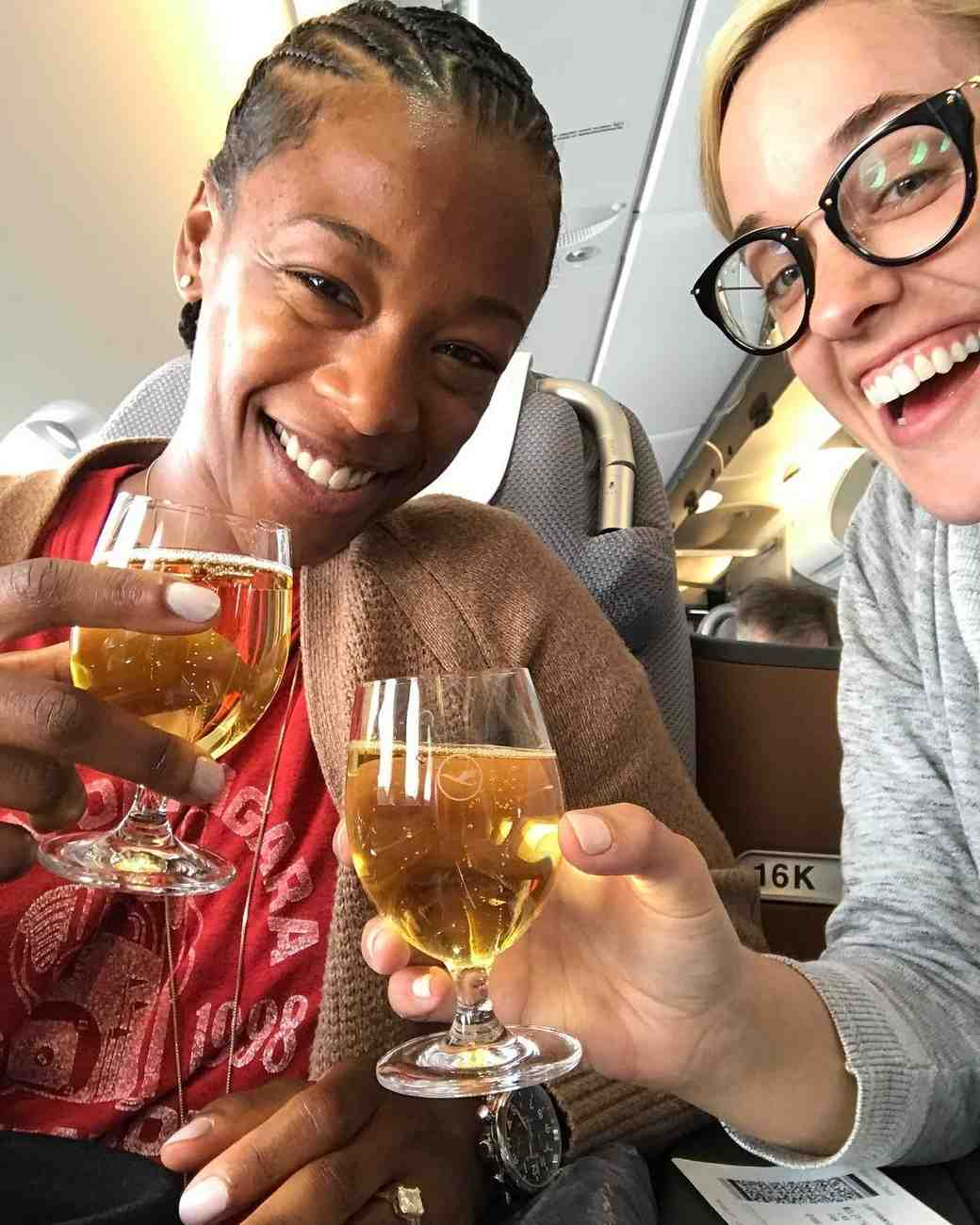 Lauren Morelli and Samira Wiley on a Plane