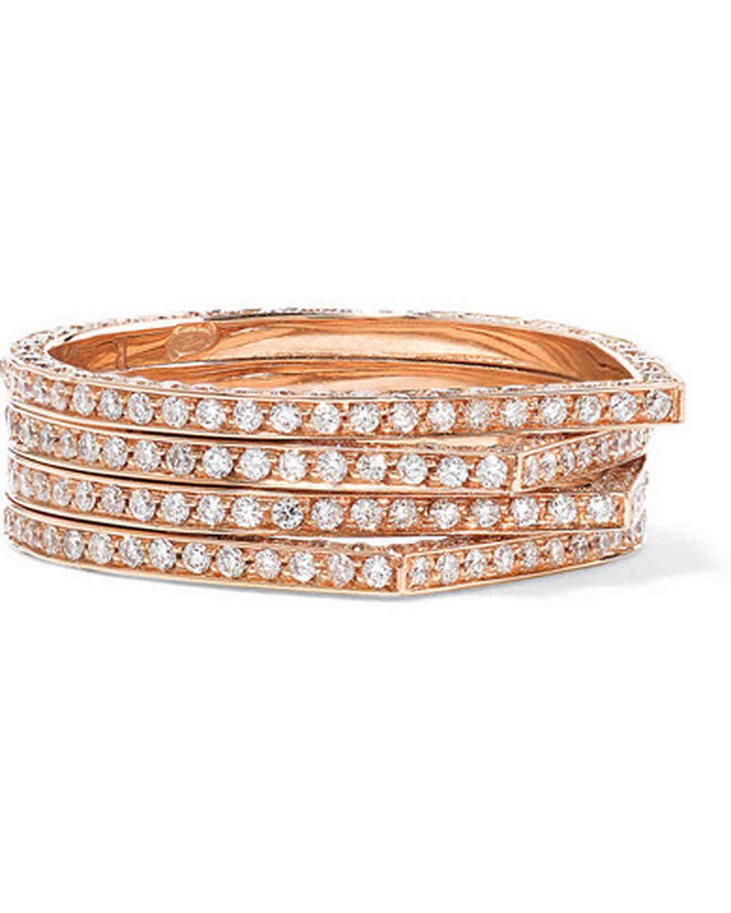 Repossi Antifer Rose Gold Stackable Diamond Ring