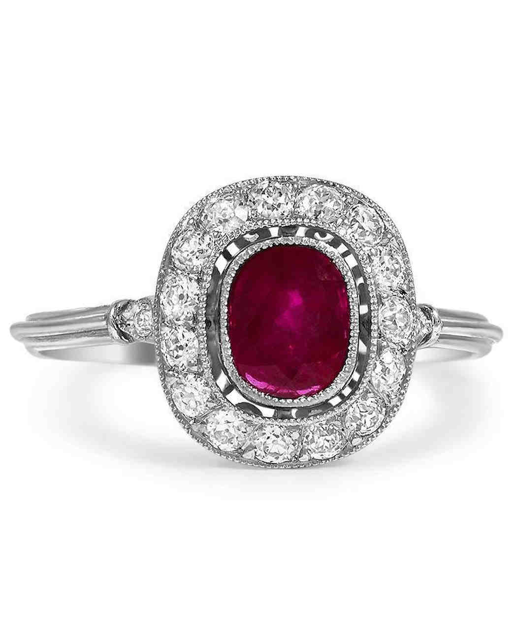 Brilliant Earth The Madelene Ruby Engagement Ring with Diamond Halo