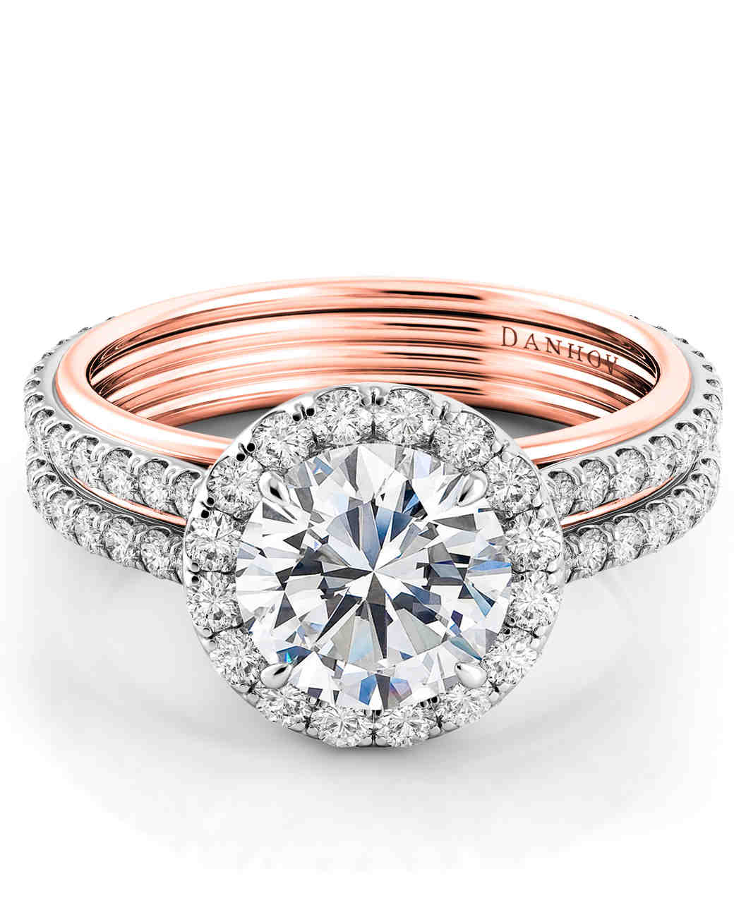 Danhov rose gold double shank halo engagement ring