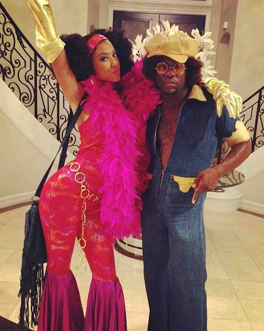 Eniko Parrish and Kevin Hart in '70s Halloween Costumes
