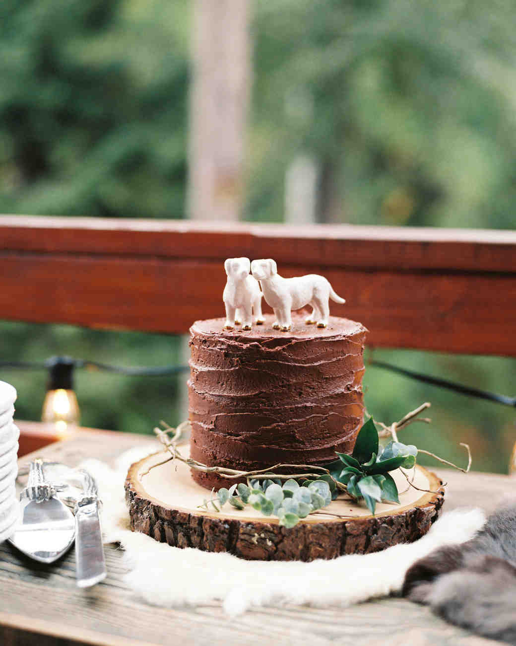 Wedding Cake with Dog Decorations on Top