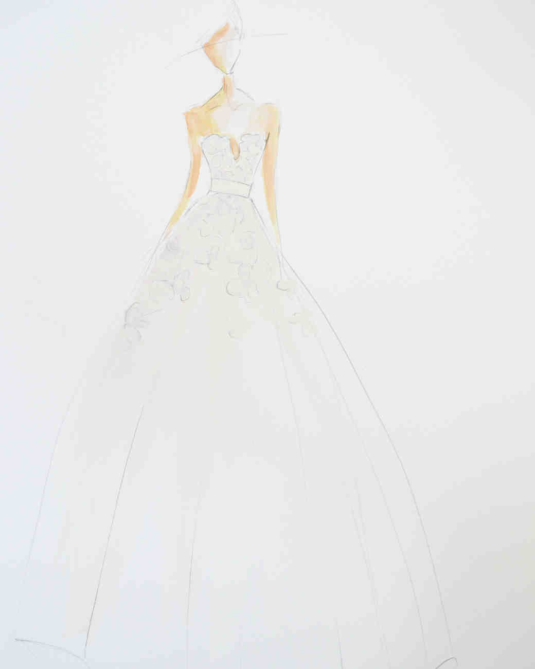 Lela Rose Fall 2017 Exclusive Wedding Dress Sketch