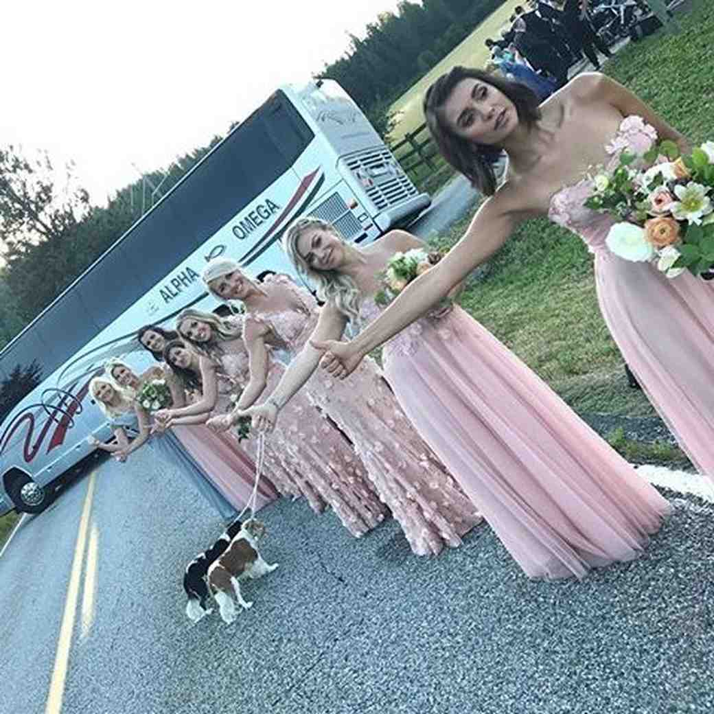 Julianne Hough's bridesmaids hitchhiking