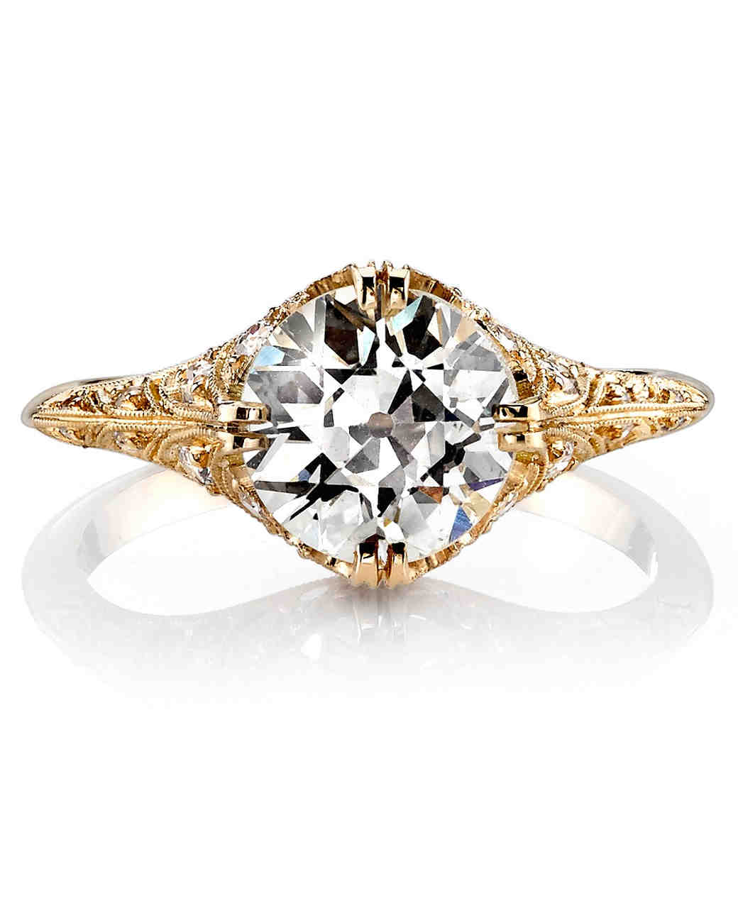 Single Stone Charlotte Eurocut Yellow Gold Engagement Ring
