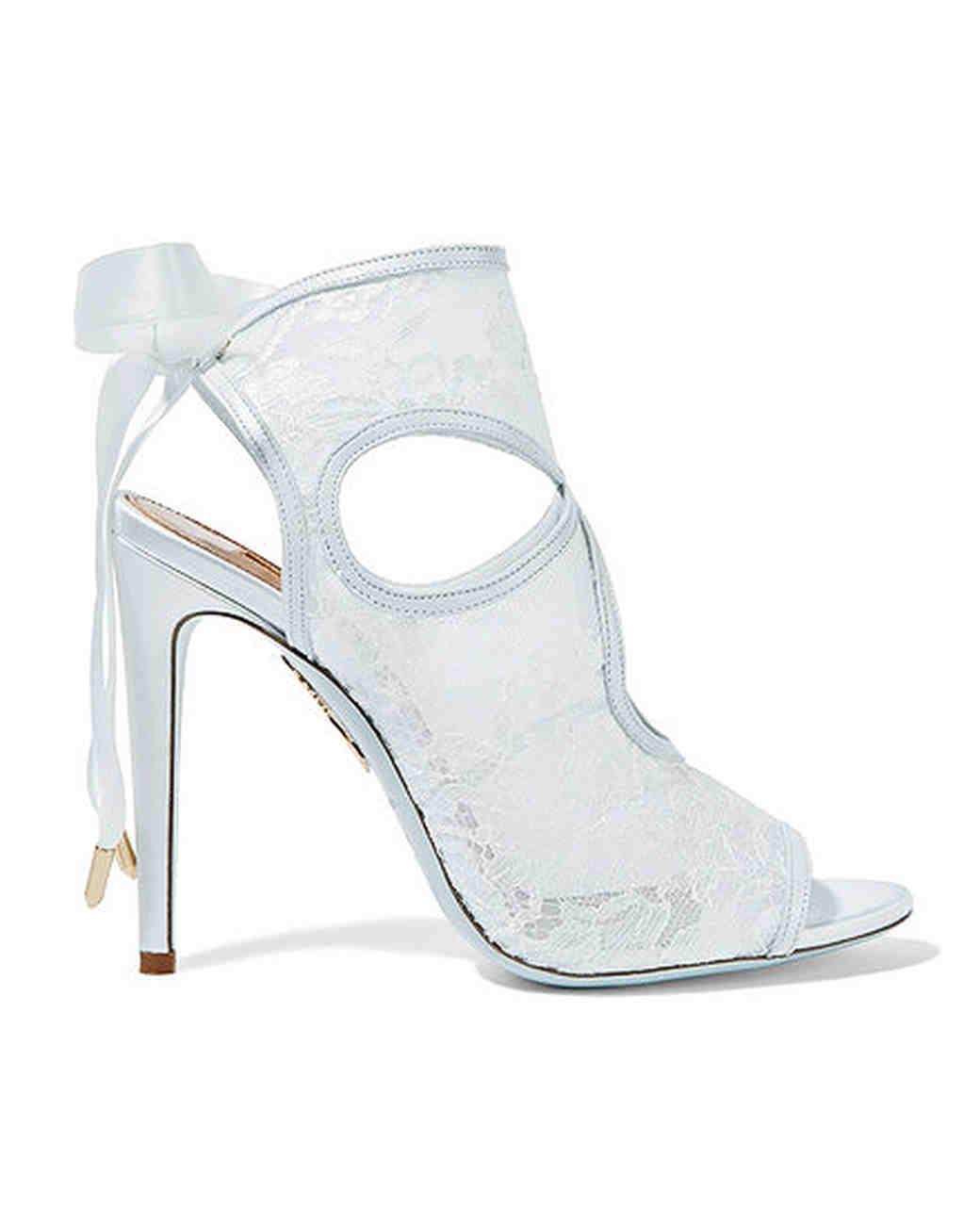 Aquazzura Leather Trimmed Cutout Lace Sandals