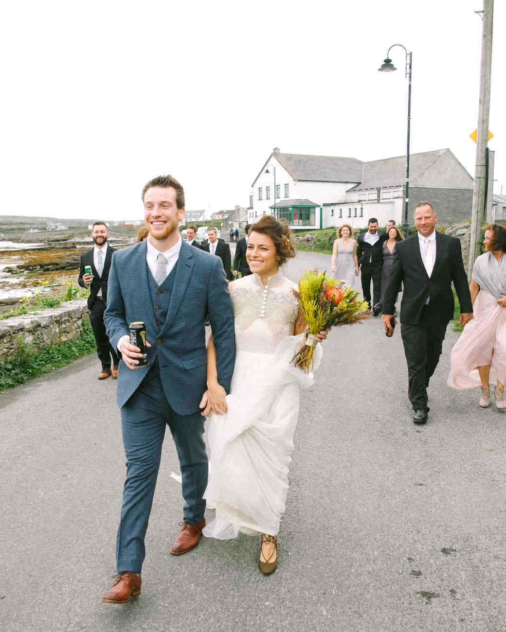 bride groom reception walking street