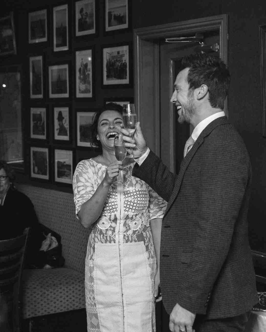 bride groom toasts reception