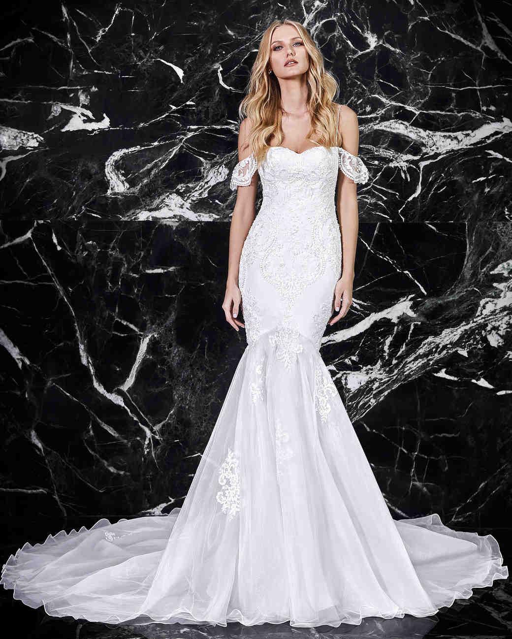 victoria kyriakides off-the-shoulder trumpet wedding dress spring 2018