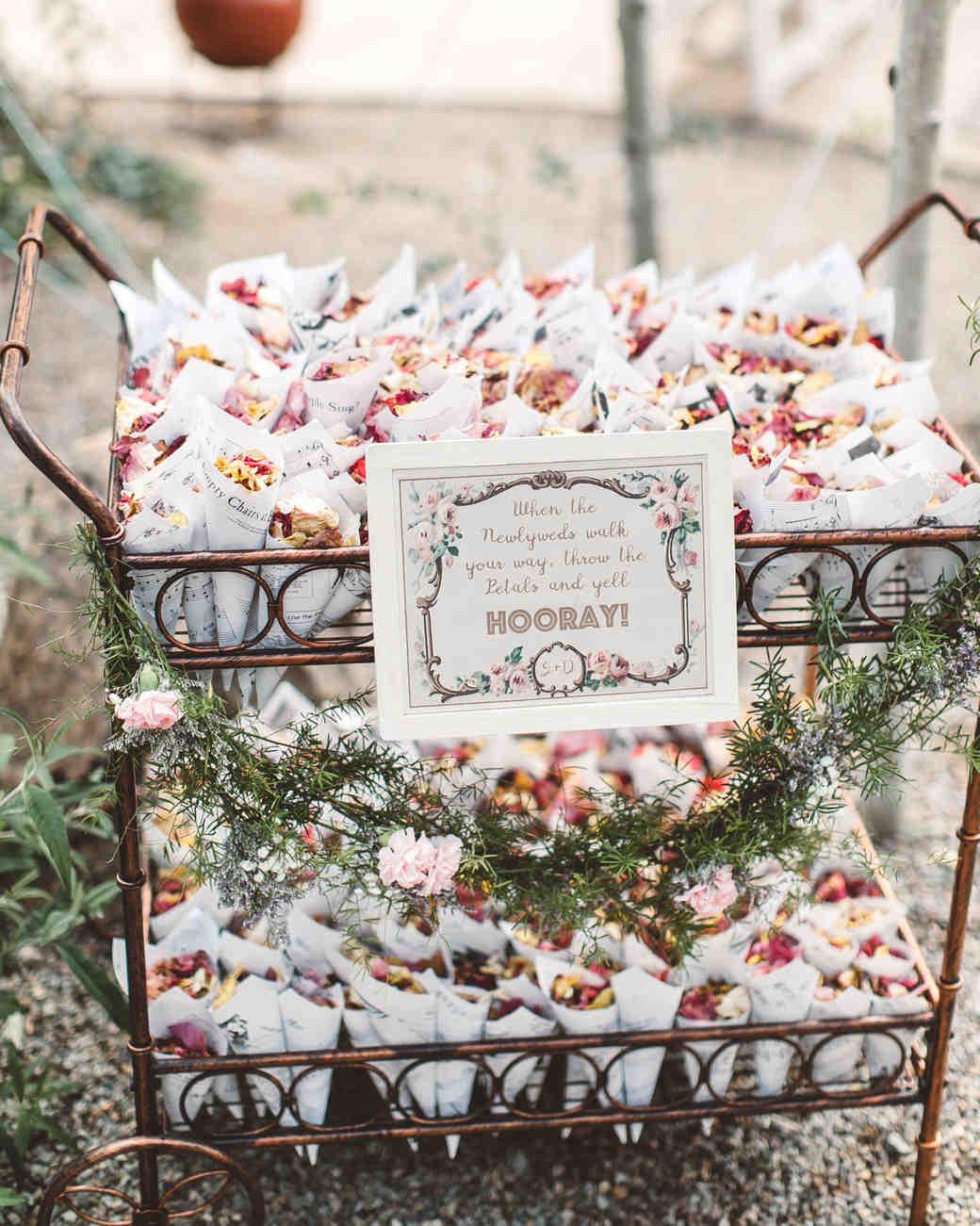 Wedding Flower Petal Bar, Flower Petals in Brass Cart