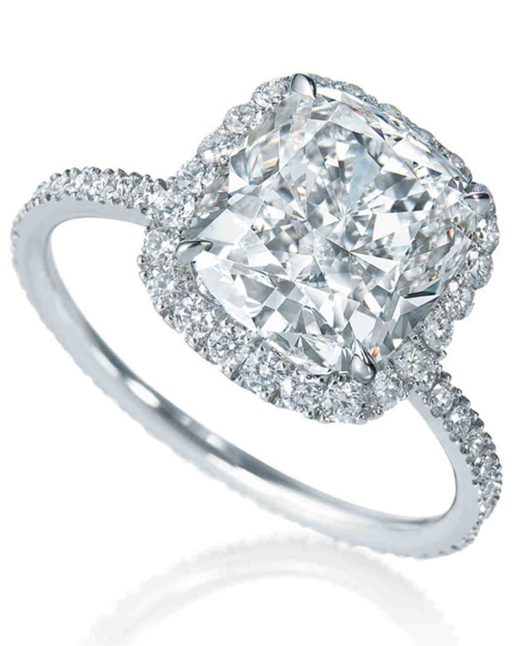 Harry Winston Micropave Cushion-Cut Diamond Engagement Ring