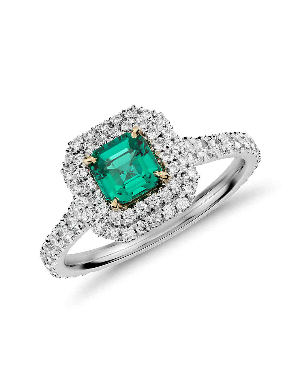 Emerald And Micropavé Diamond Engagement Ring