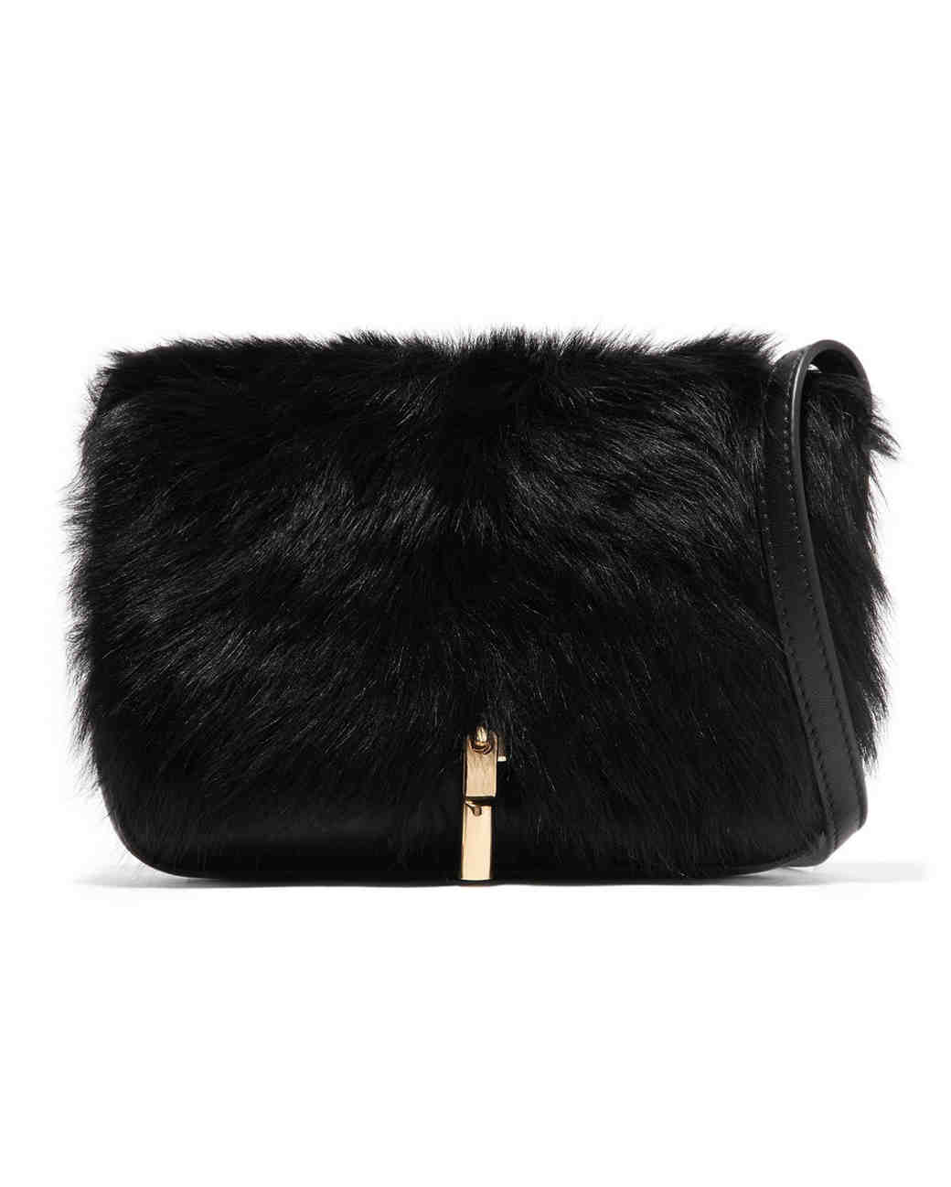elizabeth and james cynnie leather fur shoulder bag