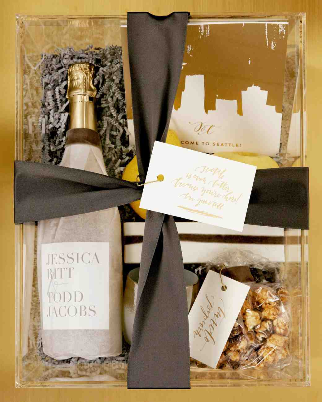 jess todd wedding seattle clear welcome box
