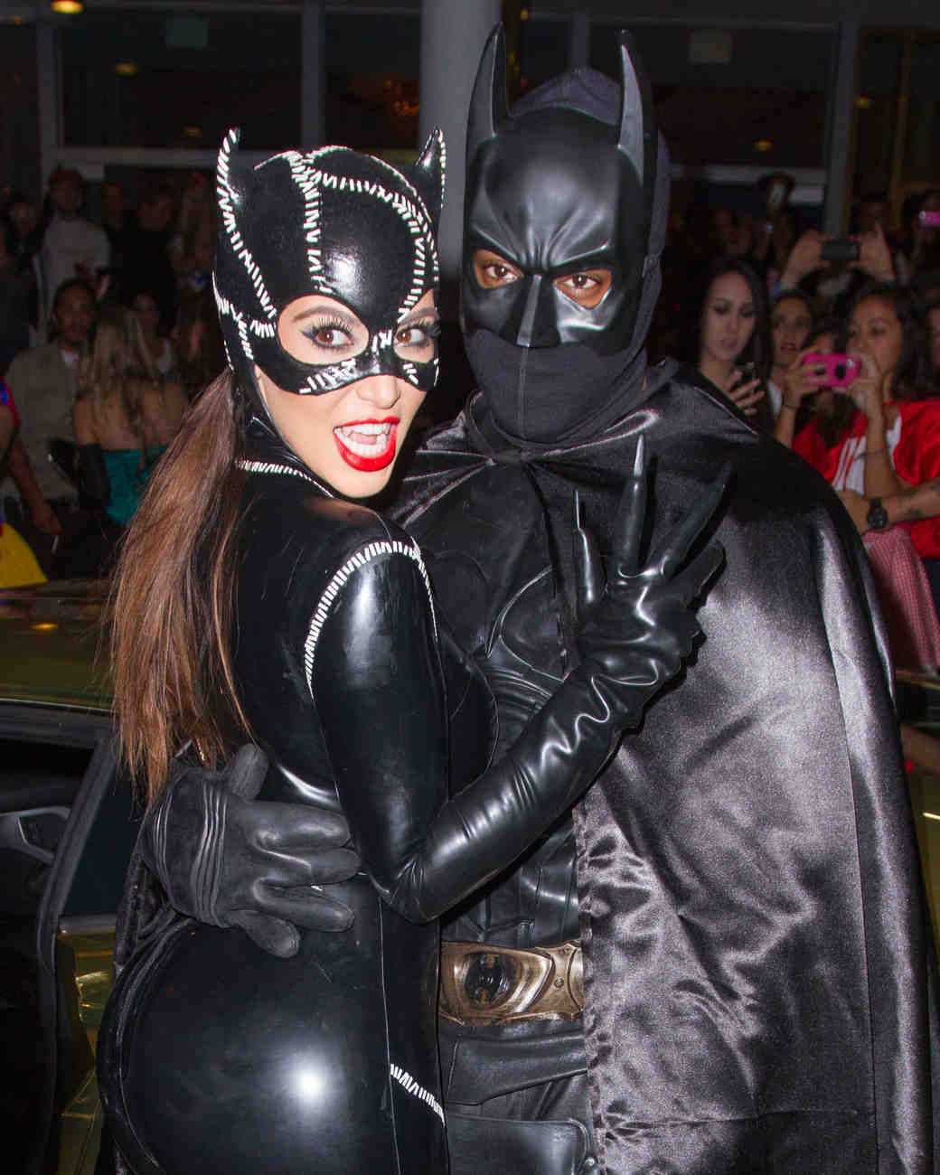 Kim Kardashian and Kanye West in Catwoman and Batman Halloween Costumes