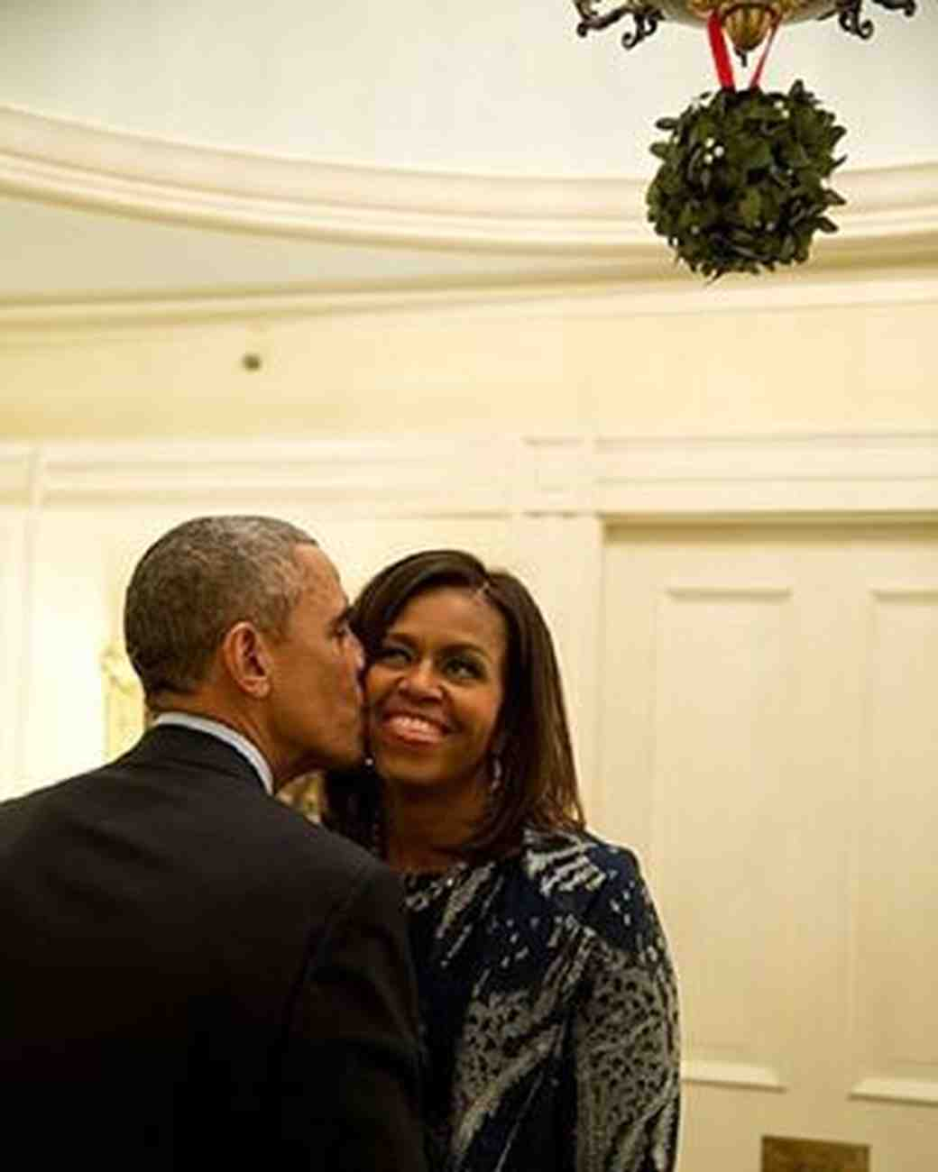 Michelle and Barack Obama Under the Mistletoe