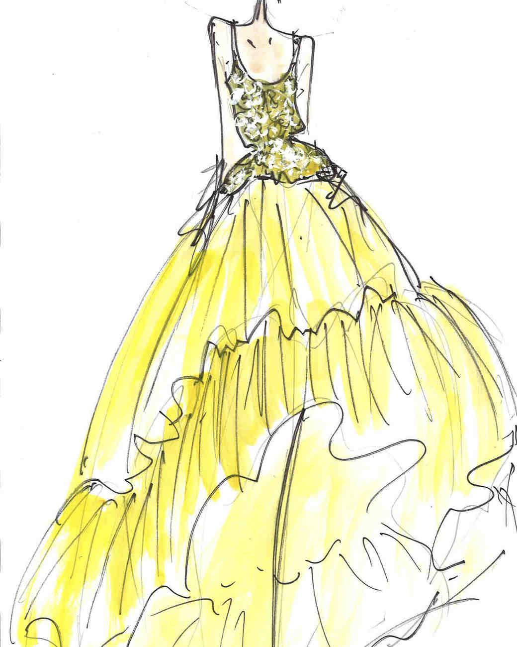 Naeem Khan Fall 2017 Exclusive Wedding Dress Sketch