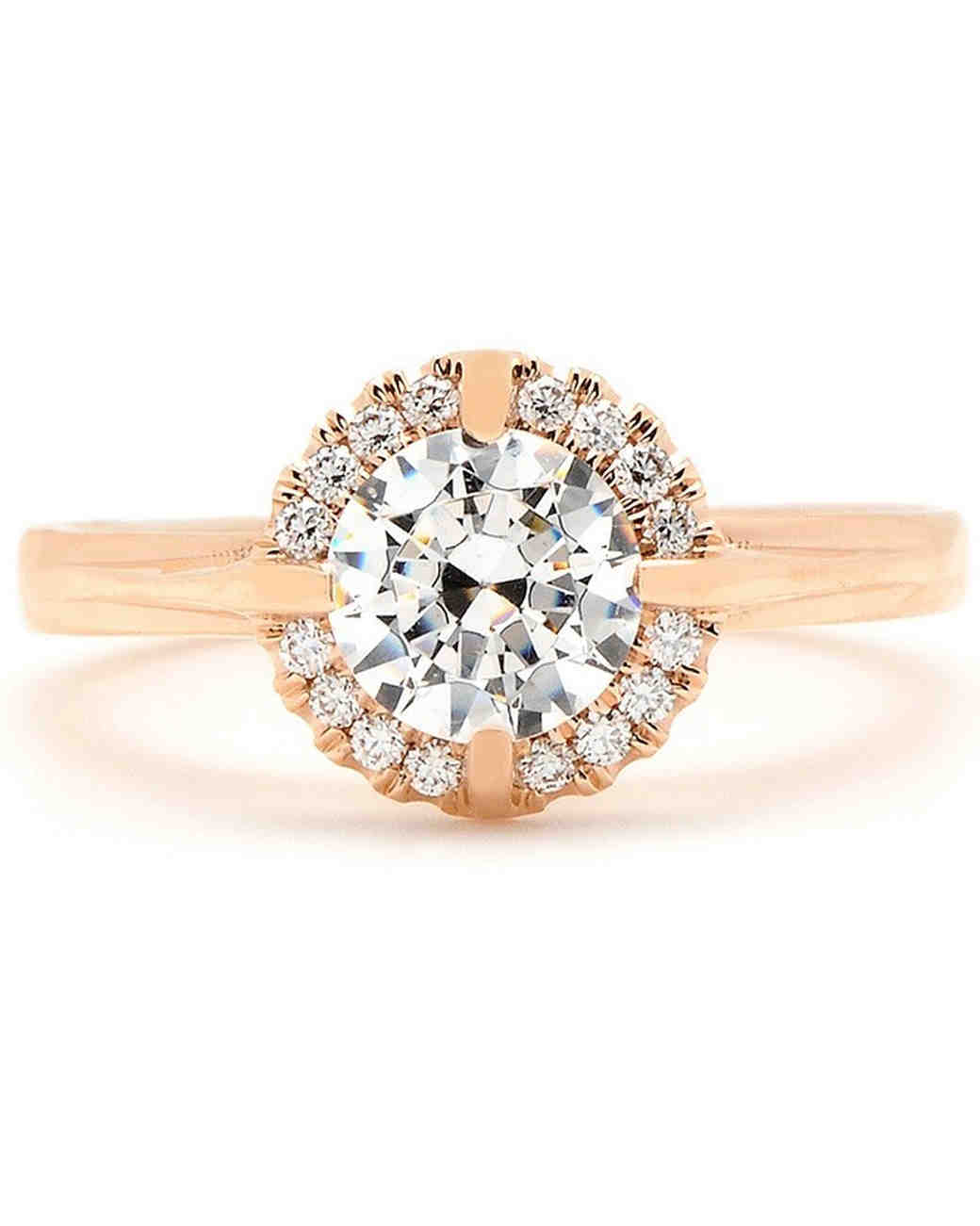 Sholdt Round Halo Engagement Ring in Rose Gold Setting