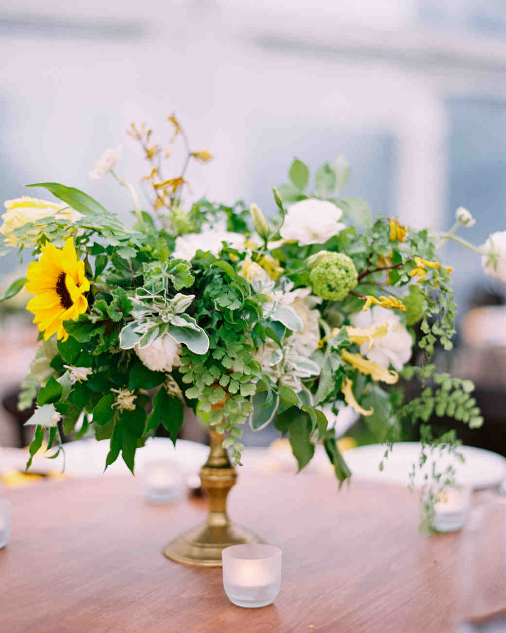 Yellow and Green Floral Arrangement with Mini White Candles