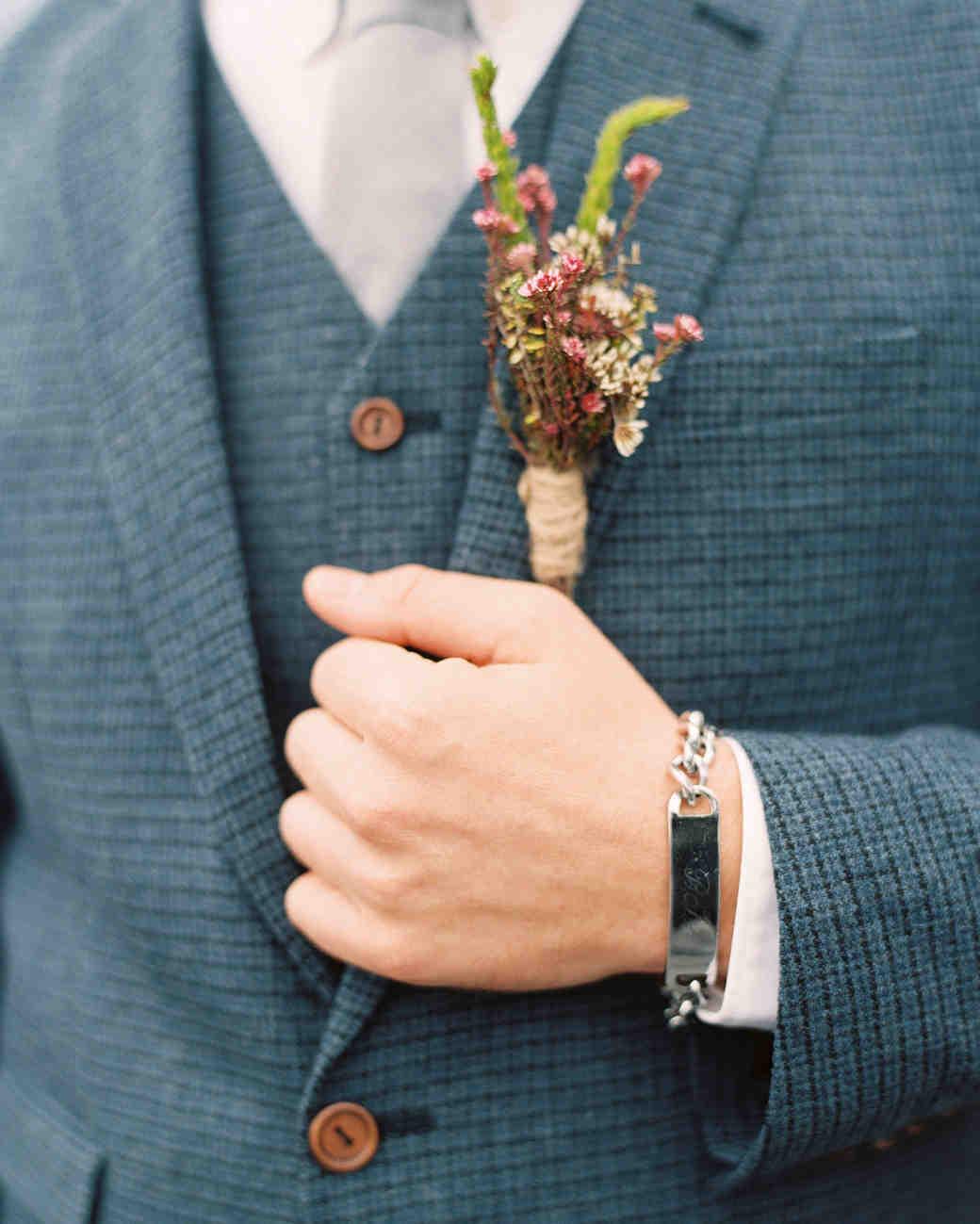 boutonniere blue suit groom