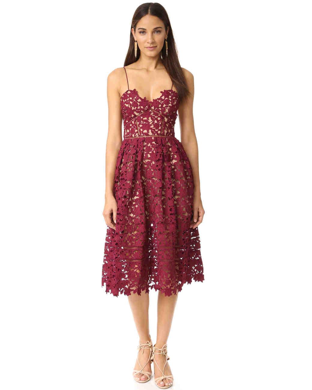 "burgundy bridesmaid dress – Self Portrait ""Azalea Dress"""